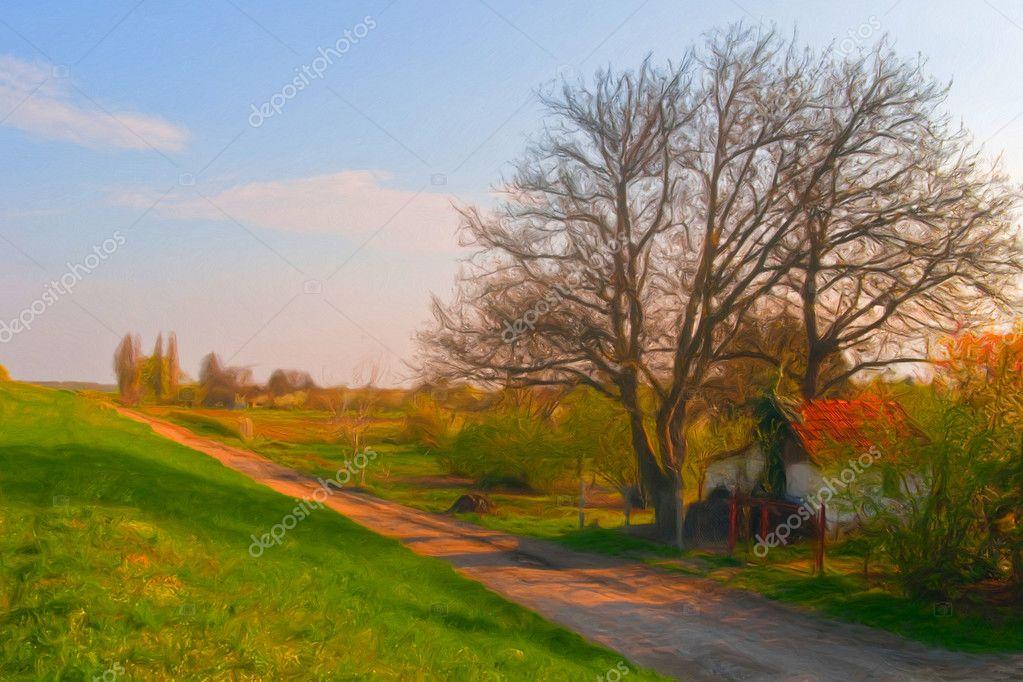 Strada di campagna visualizzando pittura di paesaggio e for Piani di piccola fattoria avvolgono portico