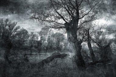 Creepy art grunge landscape in black and white