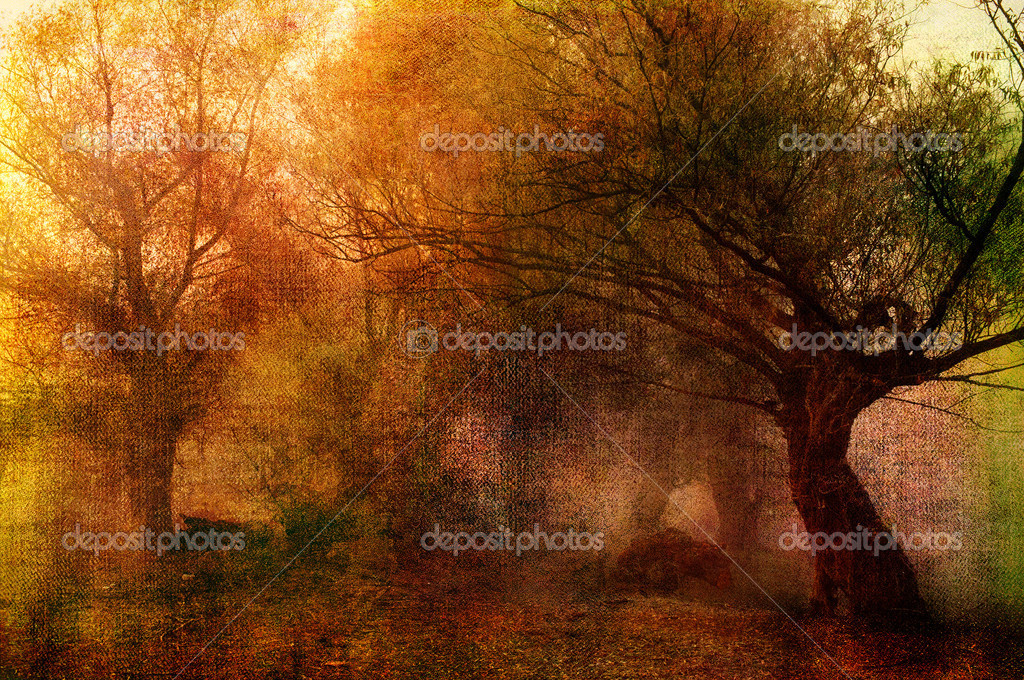 Art grunge landscape showing old forest on dark autumn day