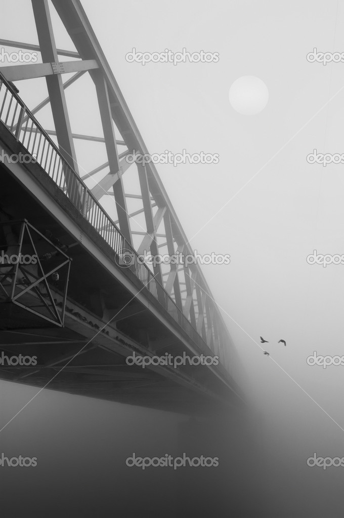Bridge in the fog in black and white