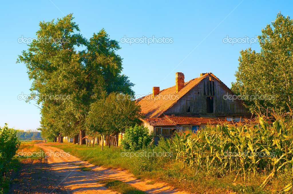 Beautiful Country Landscape Showing Old Farm House On The