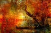 strašidelný malebnou krajinou malba zobrazeno člun na řece
