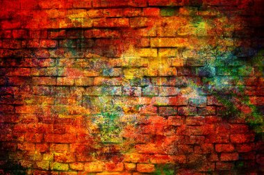 Art grunge brick wall background in red, yellow and orange colors