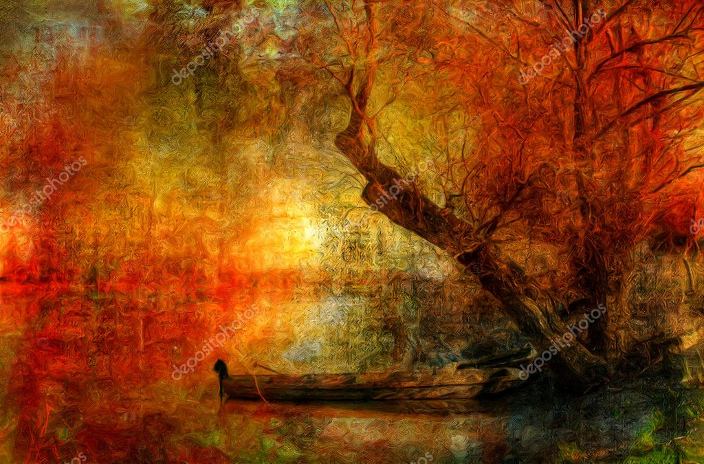 Фотообои Creepy colorful landscape painting showing boat on the river