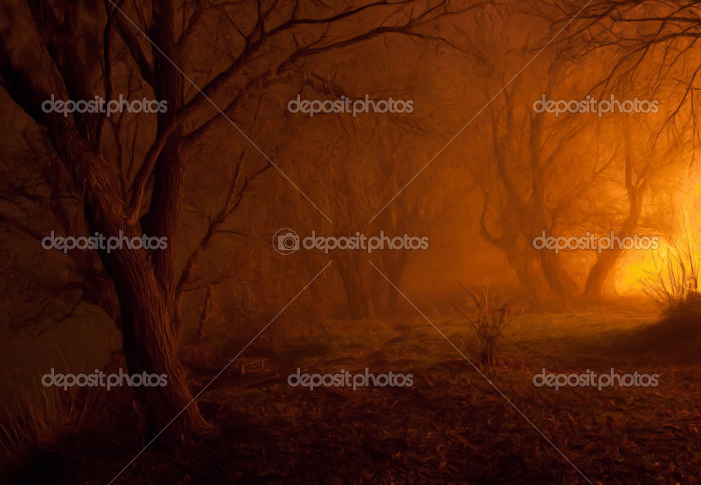 Landscape painting showing spooky forest in the cold autumn night
