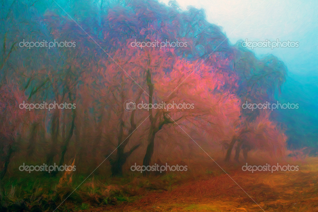 Landscape painting showing forest trees on misty autumn morning