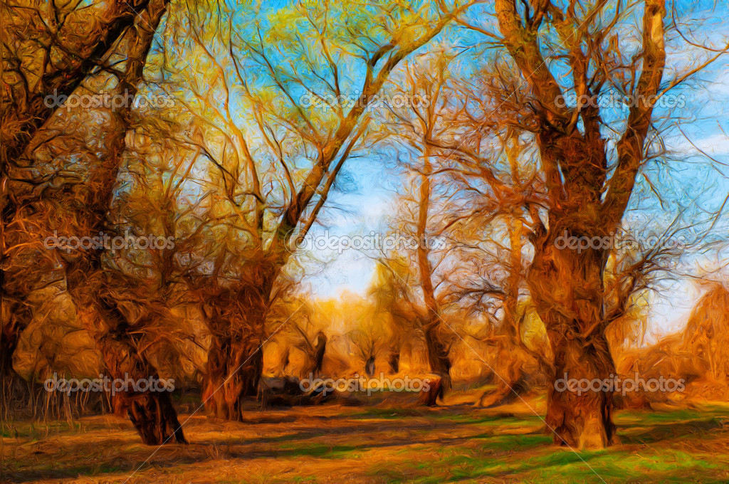 Landscape painting showing old forest on sunny spring day