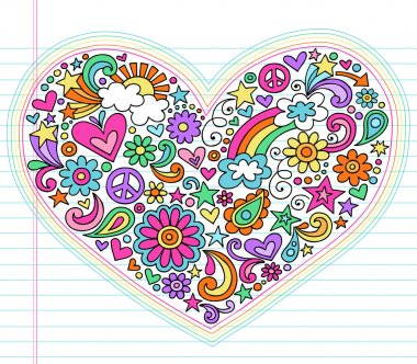 Valentine's Day Love Heart Groovy Psychedelic Hand Drawn Notebook Doodle Design Elements Set on Lined Sketchbook Paper Background- Vector Illustration stock vector