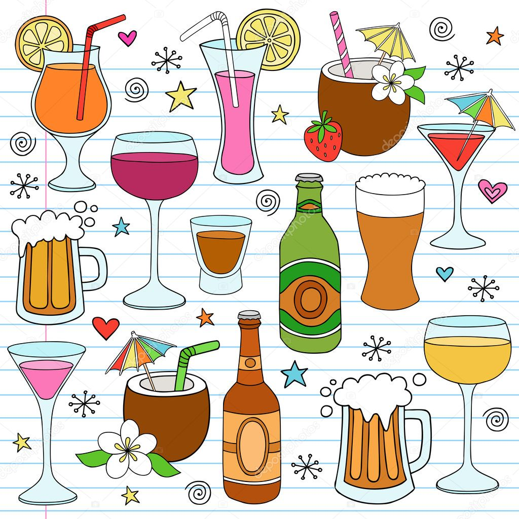 Beer, Wine & Drinks Vector Illustration Design Elements