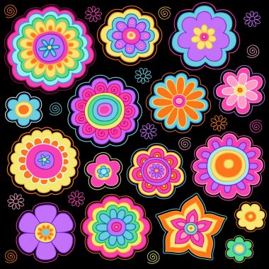 Flower Power Doodles Groovy Psychedelic Flowers Vector Set