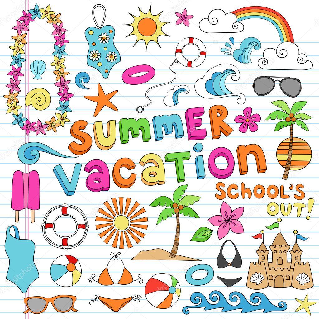 Summer Vacation Hawaiian Beach Doodles Vector Set