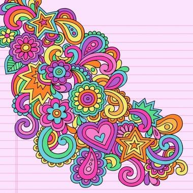 Flower Power Doodles Groovy Psychedelic Hand Drawn Notebook Design Elements Set on Lined Sketchbook Paper Background- Vector Illustration stock vector