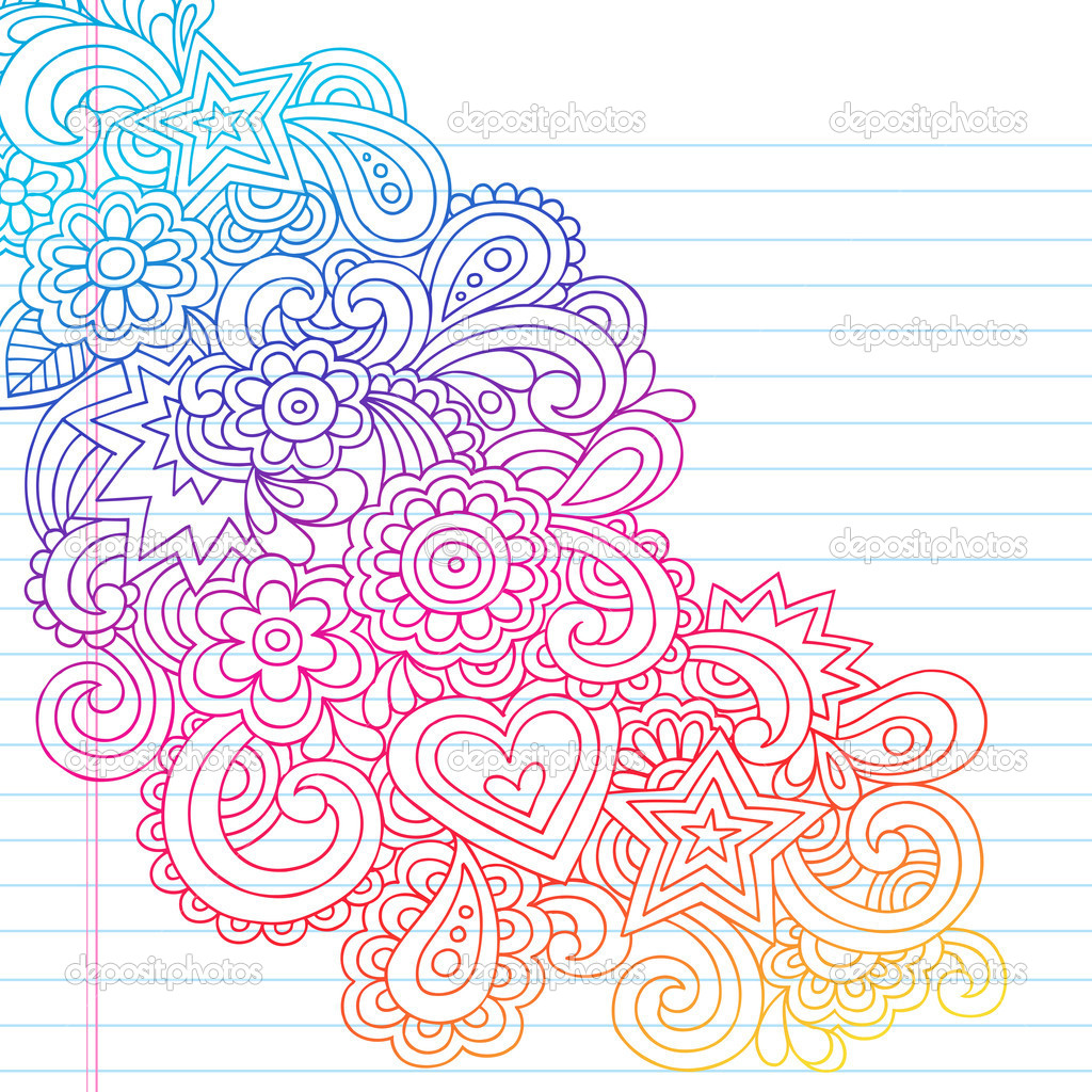 Flower Outline Doodles Groovy Psychedelic Vector Design