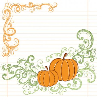 Autumn Pumpkins Sketchy Back to School Style Vector Doodles