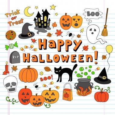 Happy Halloween Notebook Doodles Vector Illustration Design Elements