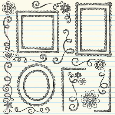 Scalloped Frames Sketchy Back to School Doodles
