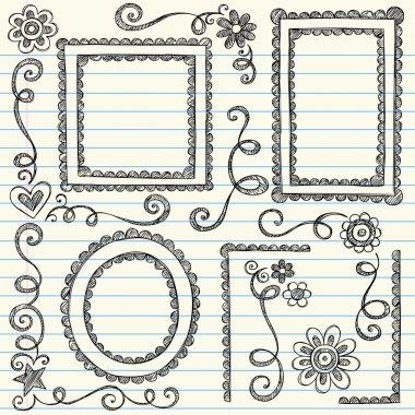 Scalloped Frames Sketchy Back to School Doodles