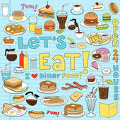 Fotografie Diner Fast Food Notebook Doodles Vector Set