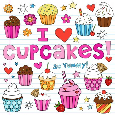 Cupcake Doodles Vector Illustration Design Elements