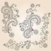 Henna Mehndi Paisley virágok és a szőlőn Doodle Vector Design