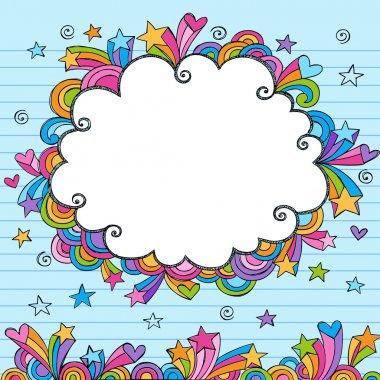 Clouds Sketchy Doodles Vector Illustration Page Border