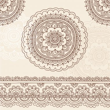Henna Mehndi Mandala Flowers and Border Doodle Vector Design