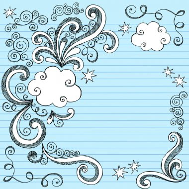Clouds Sketchy Doodles Vector Illustration Page Border