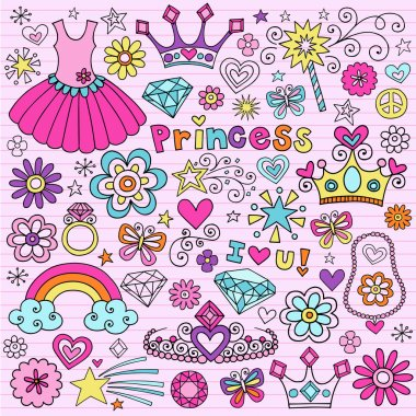 Hand-Drawn Princess Tiara Notebook Doodle Design Elements Set on Pink Lined Sketchbook Paper Background- Vector Illustration stock vector