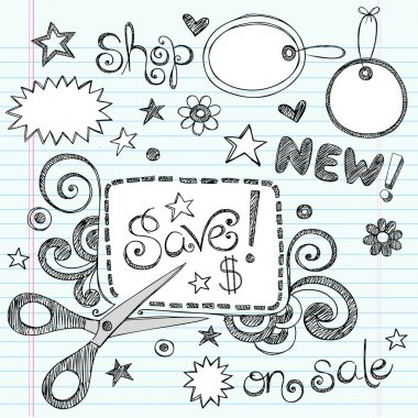 Sketchy Doodles Coupon and Scissors Doodles Vector Illustration
