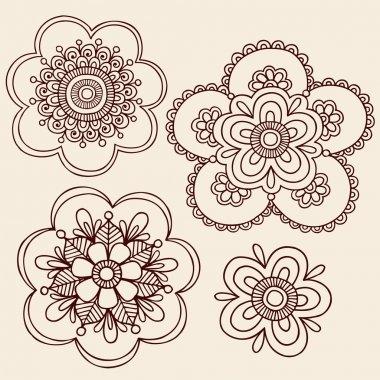 Henna Mehndi Mandala Flowers Doodle Vector Design