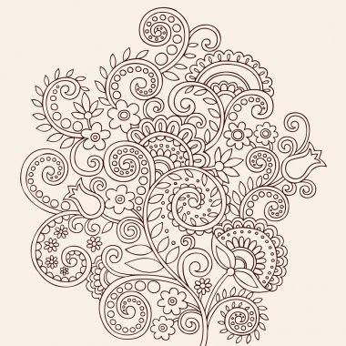 Henna Mehndi Paisley Flowers and Vines Doodle Vector