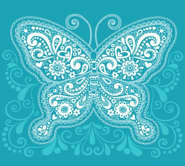 Ornate Butterfly Henna Doodle Vector Illustration