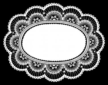 Lace Doily Frame Doodle Vector Illustration Design Element