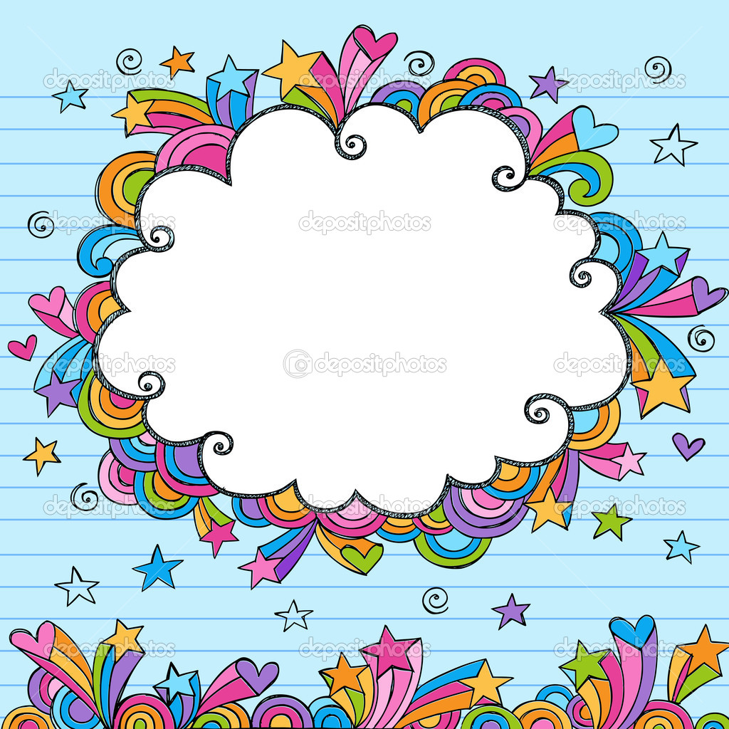 clouds sketchy doodles vector illustration page border u2014 stock