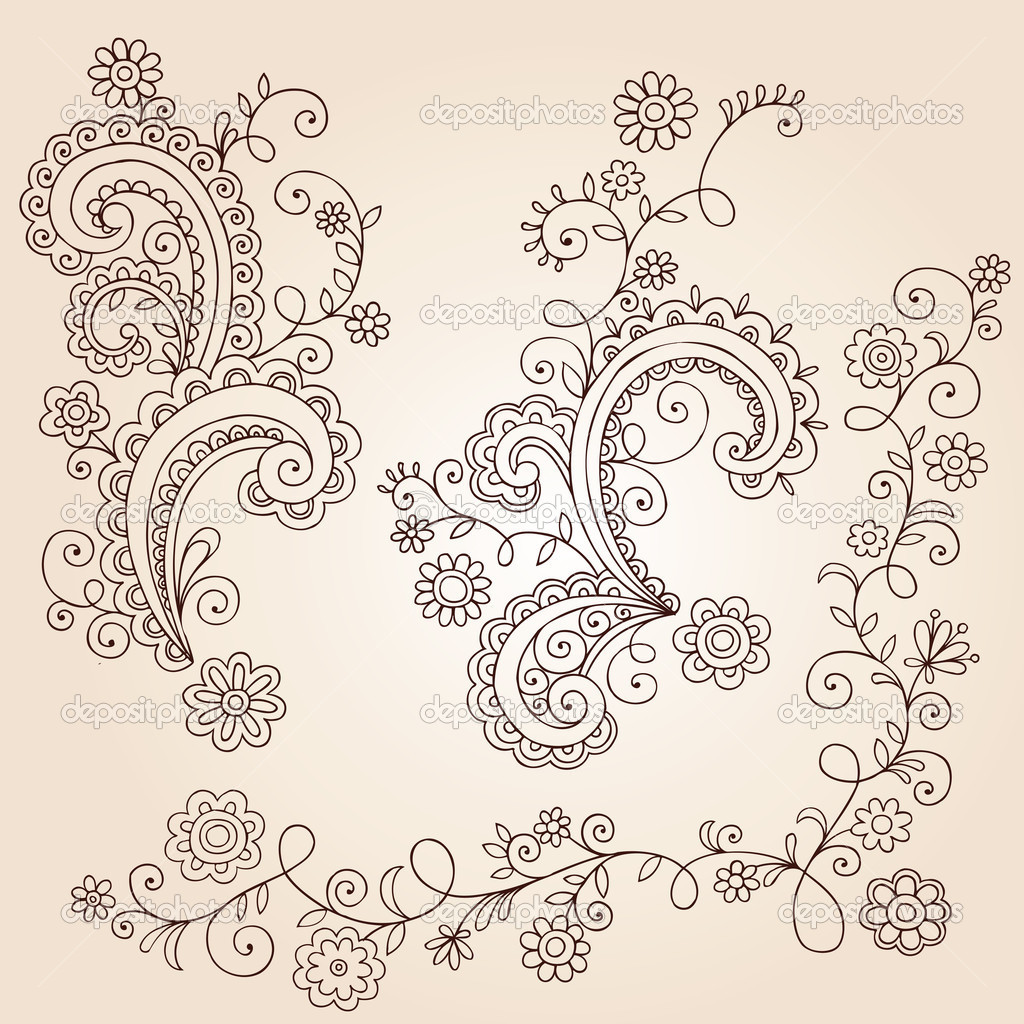 Henna Mehndi Paisley Flowers And Vines Doodle Vector Design Stock
