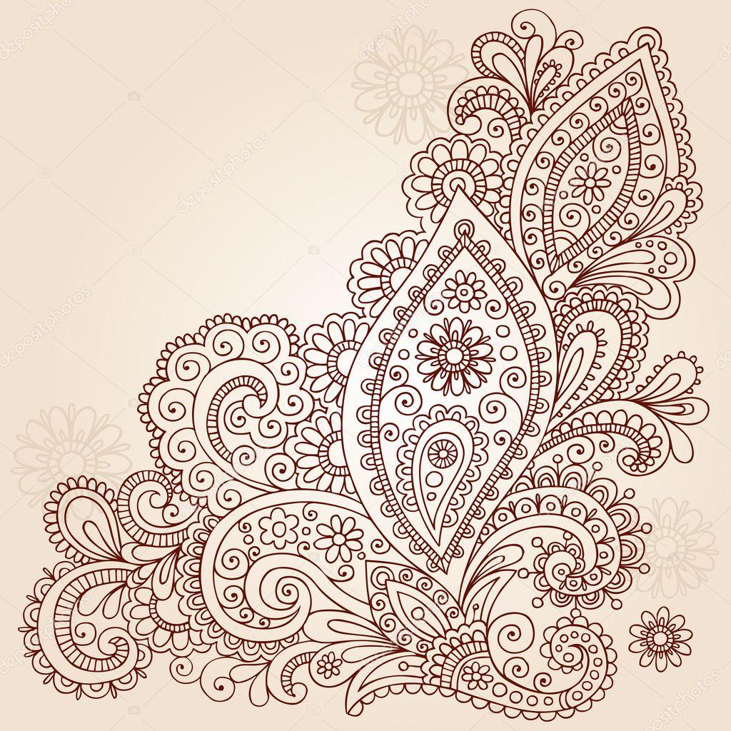 Henna Mehndi Paisley Flowers Doodle Vector Design