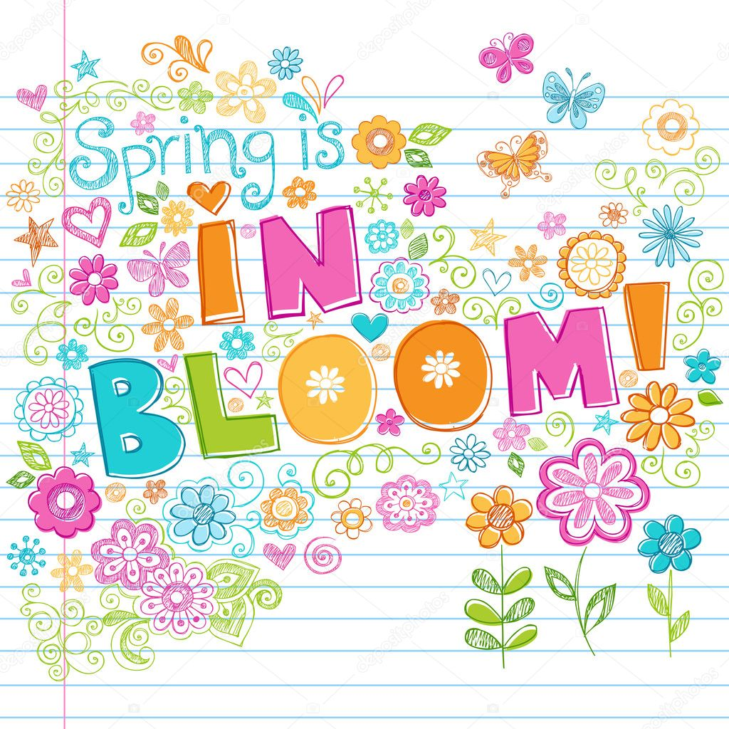 Springtime in Bloom Flowers Sketchy Notebook Doodles