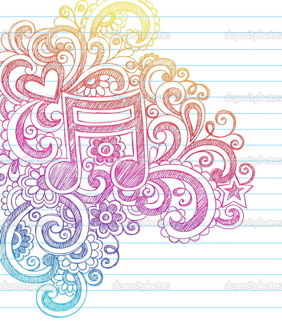 Music Note Sketchy Doodles Vector Illustration