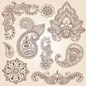 Fotografia Henna mehndi paisley fiori doodle vector design elementi