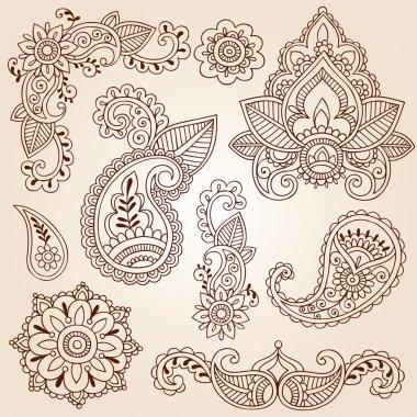 Henna Mehndi Paisley Flowers Doodle Vector Design Elements