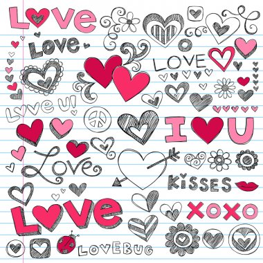 Valentine's Day Love & Hearts Sketchy Notebook Doodles Design Elements on Lined Sketchbook Paper Background- Vector Illustration stock vector