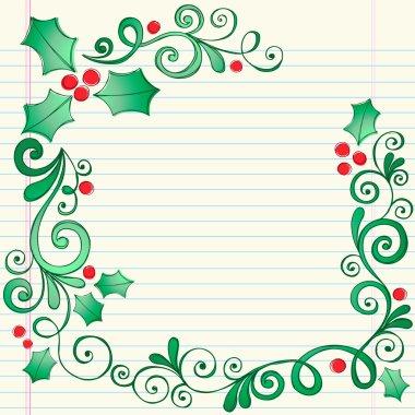 Holly Border Sketchy Notebook Doodles Vector