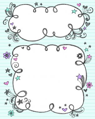 Back to School Cloud Frames Sketchy Doodles Vector