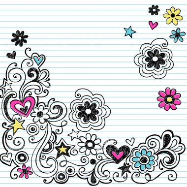 Sketchy Marker Flower Doodles Vector Design