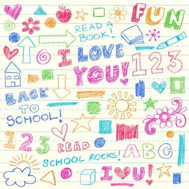 Kids Crayon Doodles Back to School Vector Illustration
