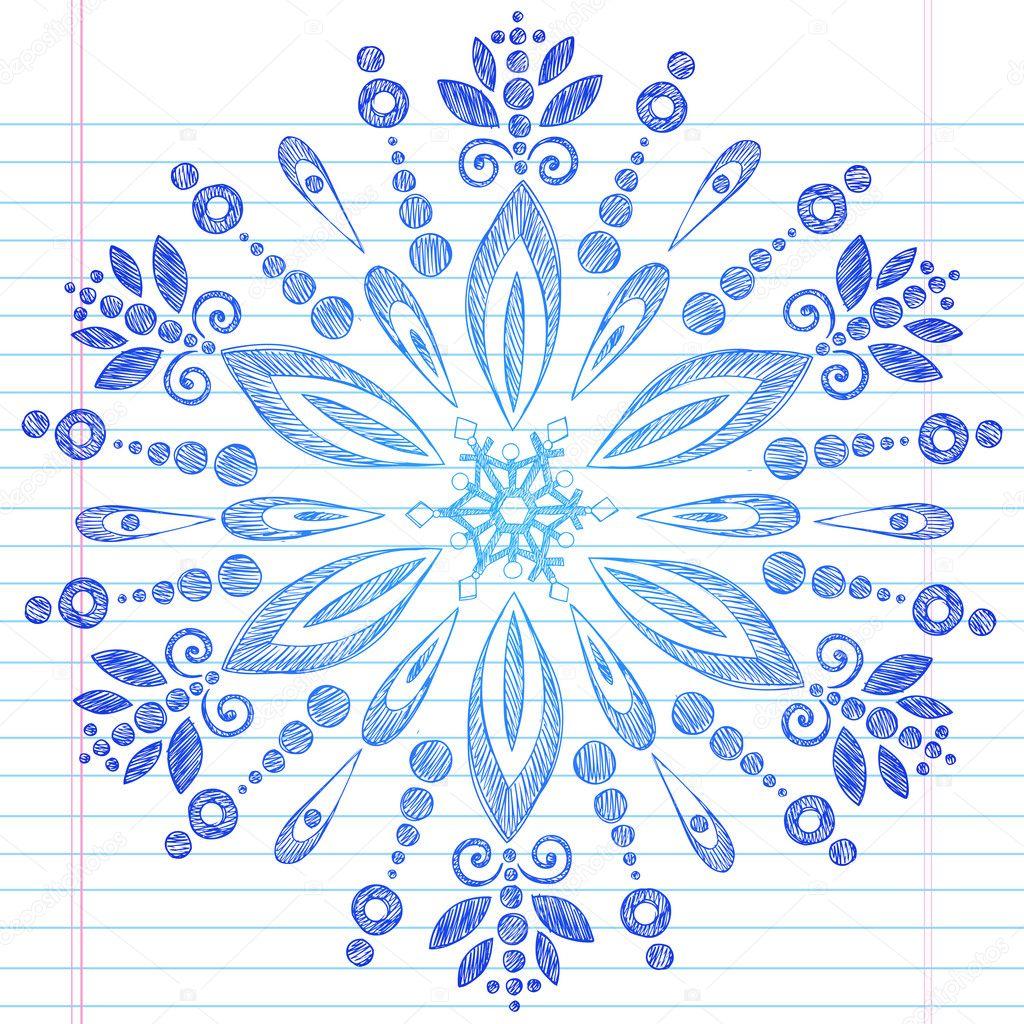 Snowflake Winter Sketchy Doodle Vector Design