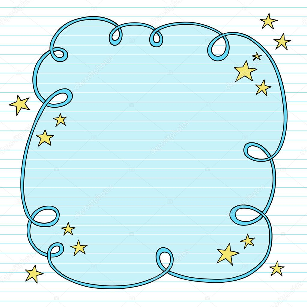 hand drawn psychedelic groovy notebook doodle swirly cloud frame design element with stars on lined sketchbook paper background vector illustration