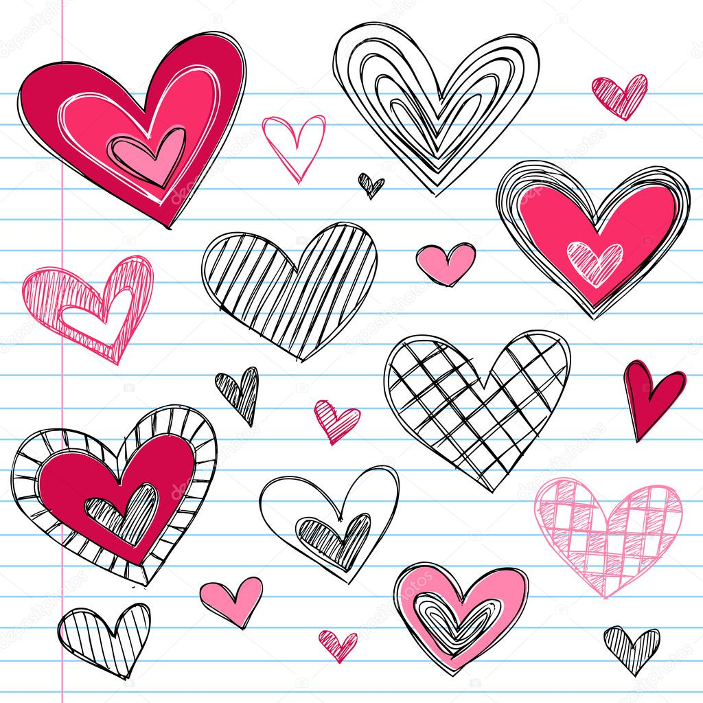 Valentine's Day HeartsvSketchy Doodles Love Set