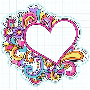 Heart Frame Border Psychedelic Notebook Doodles