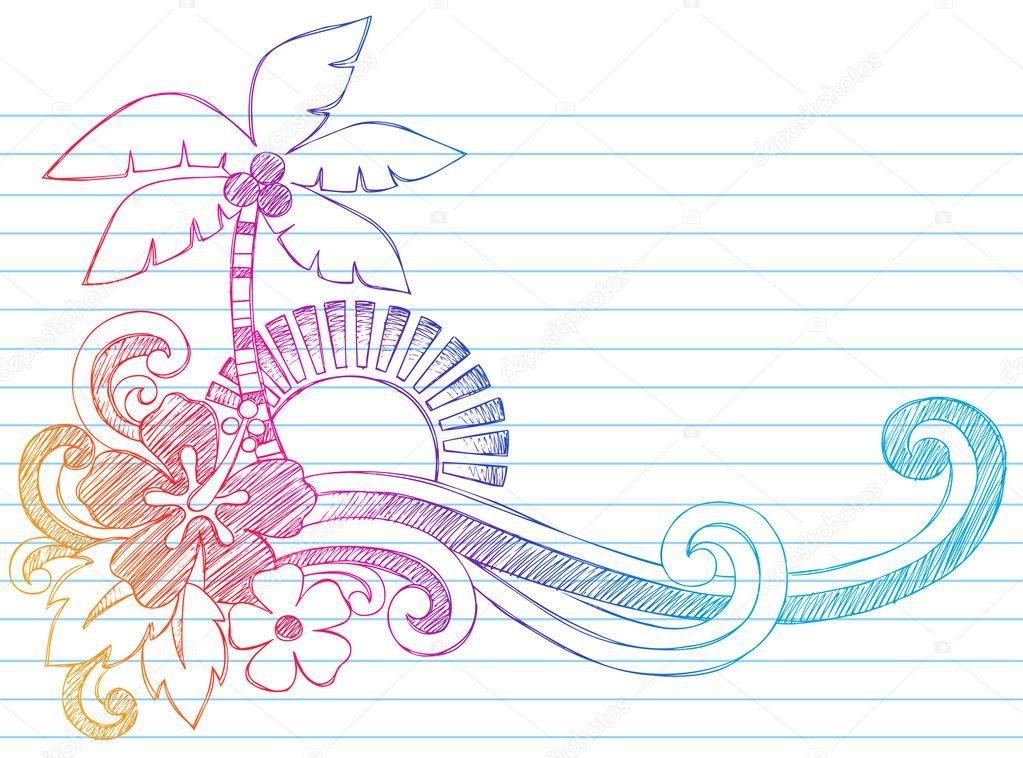 Summer Vacation Tropical Beach Sketchy Doodles